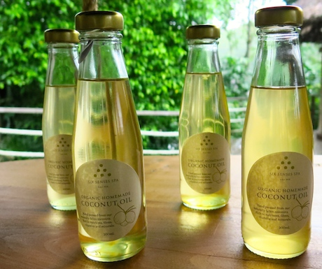 Locally produced and organic coconut oil in the spa at Six Senses Yao Noi.