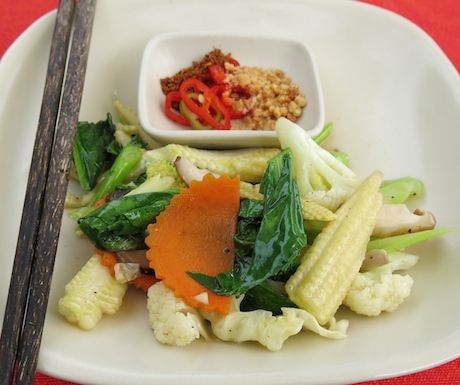 vegan stir fried vegetables at Six Senses Yao Noi