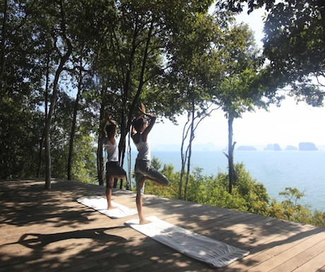 Yoga bliss in island paradise; a peaceful place to practice asanas.