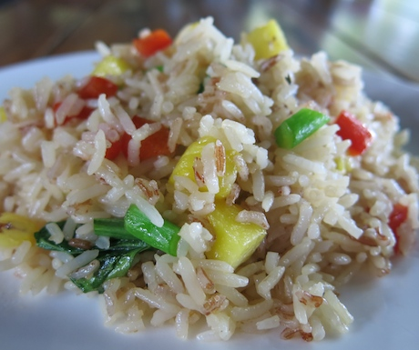 Vegan pineapple fried rice for breakfast at Tubkaak Krabi Boutique Resort