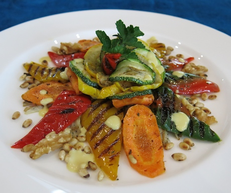 Lightly grilled vegetables, pine nuts and walnuts with a mustard dressing served on a healthy rice flour bread