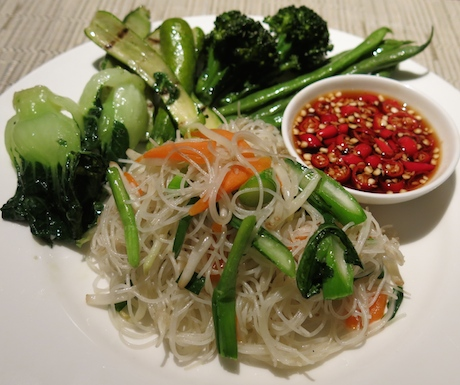 Delicious noodles and vegetables, served with chilli and soy.
