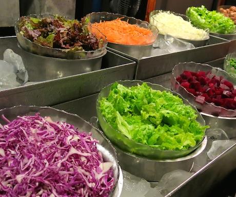 Fresh, raw veggies at the DIY salad bar (a vegan's paradise).