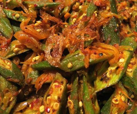 Tasty spicy okra.