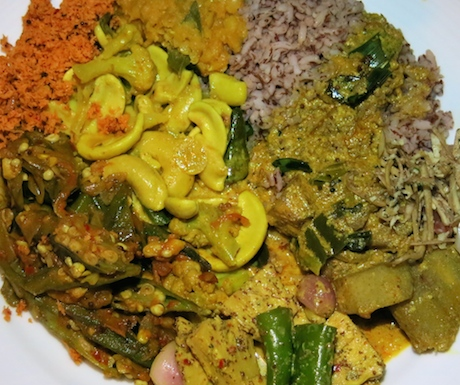 A vegan 'rice and curry' banquet.