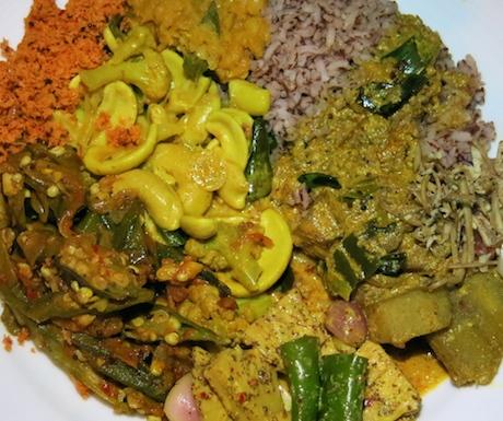 selection of Sri Lankan vegan curries at Heritance Kandalama