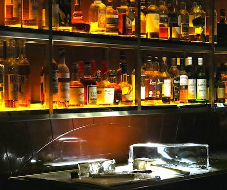ice on the bar at Manhattan