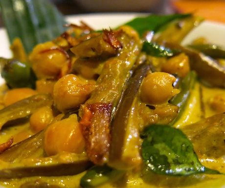 Chick peas and eggplant in a creamy coconut curry at Jetwing Lagoon