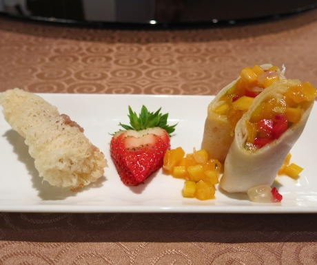 'Crispy Vietnamese Yam Roll' and 'Vegetable Hand-roll Served With Mango Salsa'