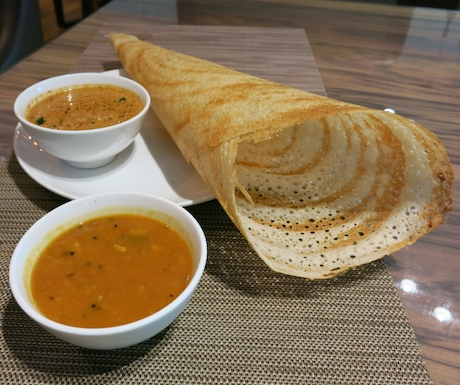 Perfect, crispy dosa with sambar and coconut chutney