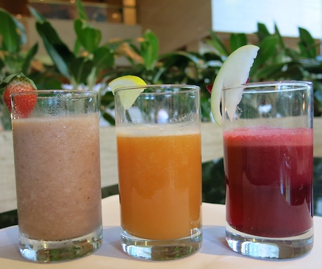 selection of fresh juices at breakfast