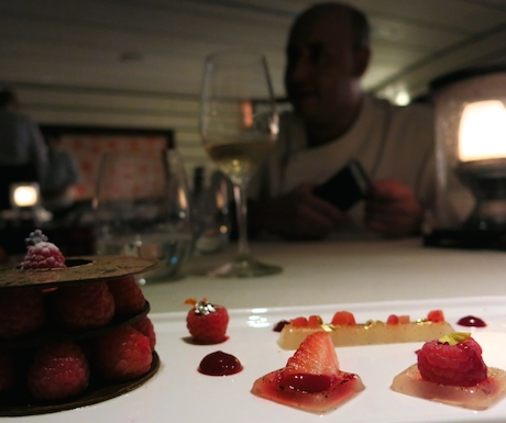 Enjoying chocolate and Raspberries Millefoglie with Prosecco and Strawberries Jelly whilst chatting with Chef Angelo.