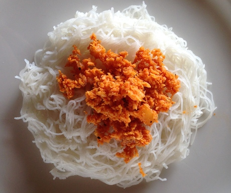 String hoppers with spicy pol sambol