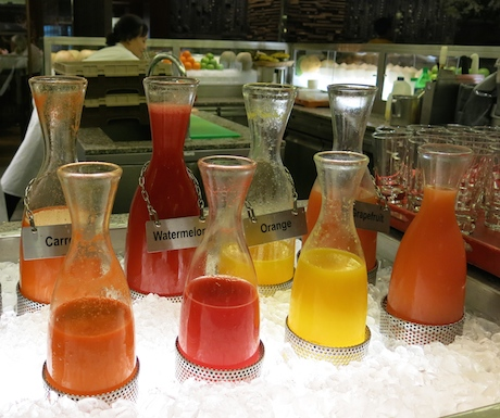 selection of juices at swimming pool at Grand Hyatt Singapore