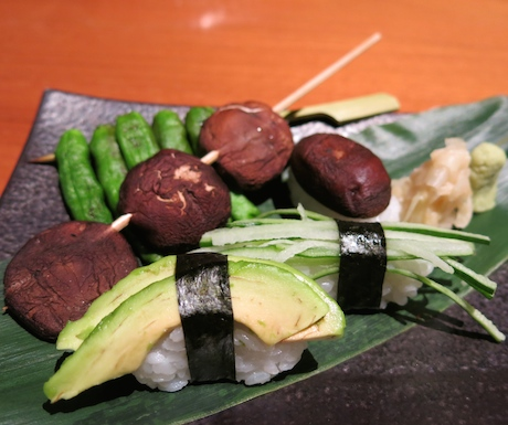 Beautifully crafted vegan sushi offering a perfect example of how good vegan sushi can be, accompanied with vegan yakitori.