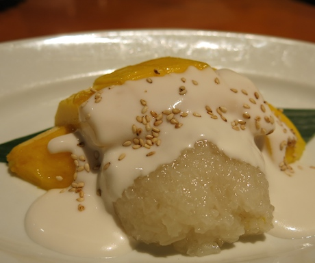 Every chef prepares and presents this dish differently and we enjoyed the Mezza9 version for it's moist, sweet sticky rice and thick, slightly salted coconut cream with sesame seeds.