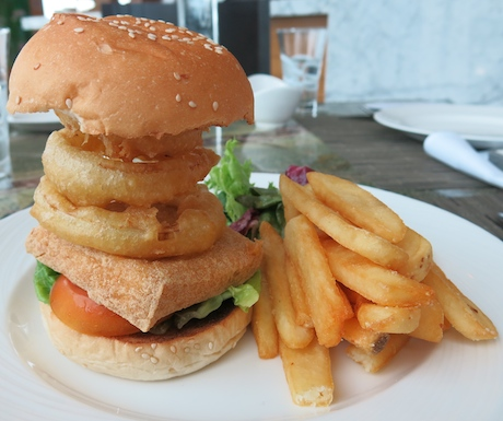The mammoth 'onion ring stack adorned' vegan tofu burger from The Westin.