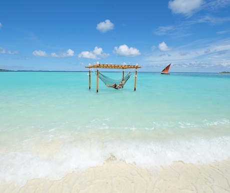 hammock in the ocean at Ayada Maldives