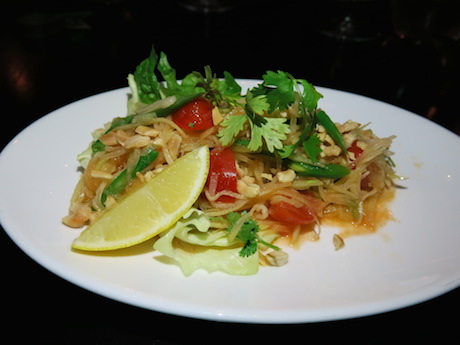 Spicy papaya and mango salad with toasted peanuts and a classic Thai flavours of lemongrass, lime and chilli.