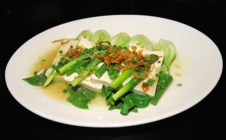 Steamed Greens with Tofu at Ayada Maldives