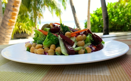 huge salad plate for breakfast at Ayada Maldives