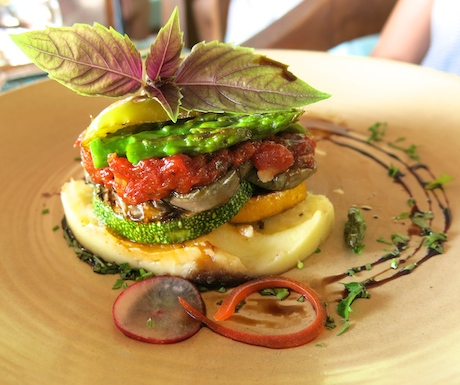 grilled vegetable stack, served on a smooth potato mash