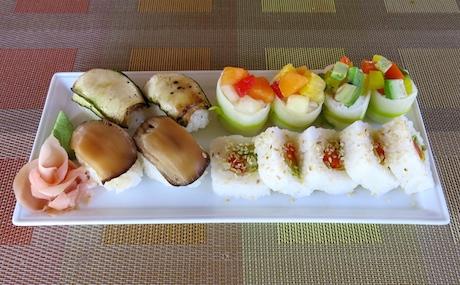 vegan sushi platter at Ayada Maldives