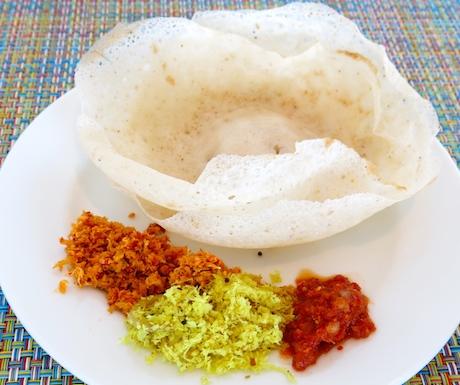 Freshly made Sri Lankan hoppers for breakfast at Cinnamon Red.
