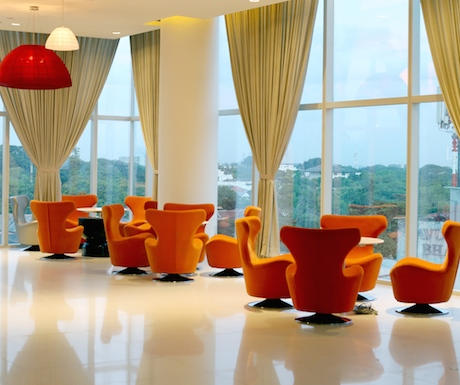 Bright and modern reception area at Cinnamon Red.