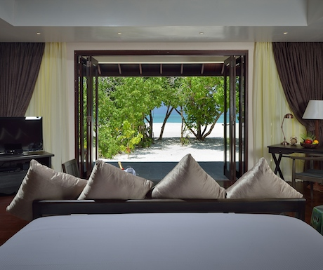 luxury sunset junior suite with direct beach access at Atmosphere Kanifushi