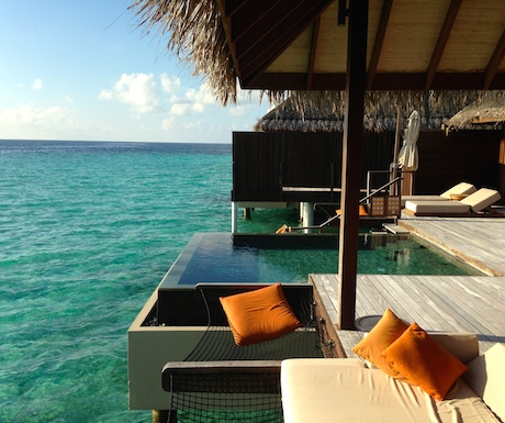 beautiful sunset ocean view suite at Ayada Maldives