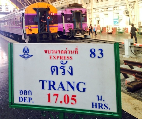 Preparing to board the overnight train from Bangkok to Trang.