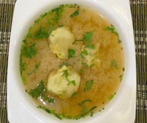 vegan soup with dumplings at Ariya in Bangkok