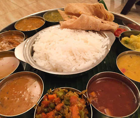 vegan South Indian thali in Bangkok at Saravanaa Bhavan