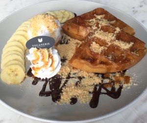 vegan waffle plate at Veganerie Concept in Bangkok