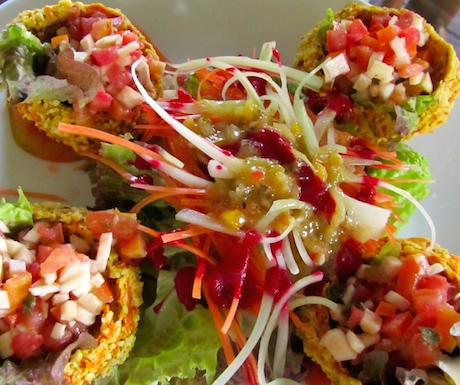 Raw Mexican taco cups at Rasayana Retreat in Bangkok