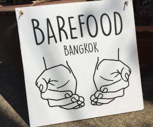 sign outside Barefood Bangkok vegan cheese shop
