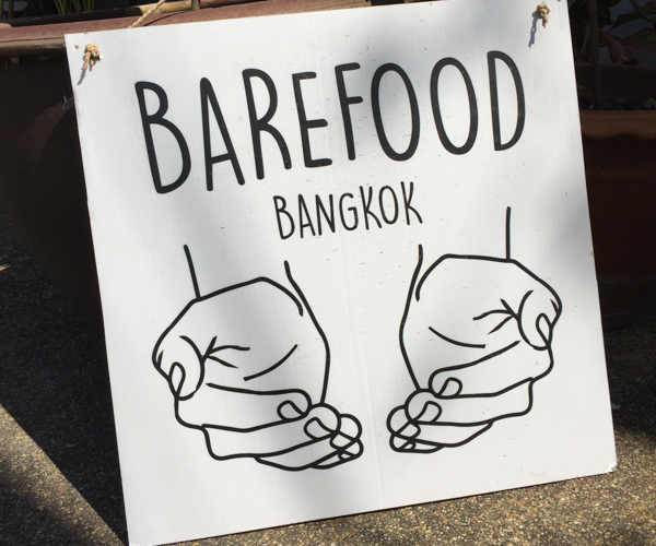 sign outside Barefood Bangkok vegan cheese shop