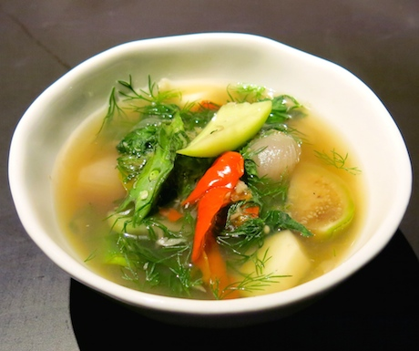 'Southern Style Red Turmeric Soup with Lotus Shoots' - Spicy, earthy and savoury broth full of fresh vegetables; light and tasty.