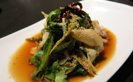 'Salad of Grilled Banana Blossom' - The banana blossom was soft and dressed in a zingy and sour dressing made with light coconut milk, laced with fresh coriander, basil and roasted rice flavours.