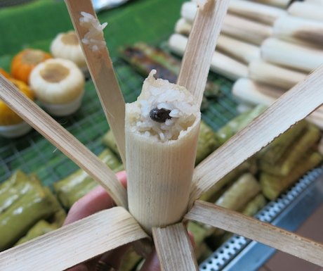 This sticky rice cooked in bamboo was so tasty.