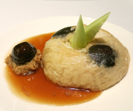 Fourth Course - Steamed Rice with Mushroom wrapped with Bean Curd.