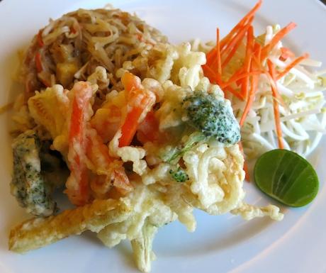 Vegan noodles with mixed vegetable tempura