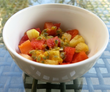 Tropical fruit salad with passion fruit