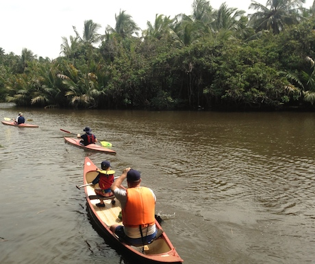 Exploring the river at Ging Oya Lodge