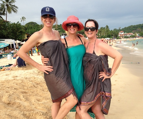 on the beach with friends in Unawatuna