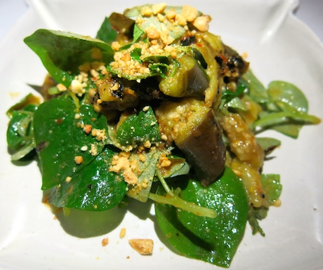 Roasted aubergine salad - a delicious start to our 'Vegan Apsara Dinner Menu'.