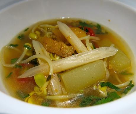 Sour soup with hidden treasures.