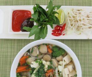 vegan Vietnamese Pho at Villa Song for breakfast