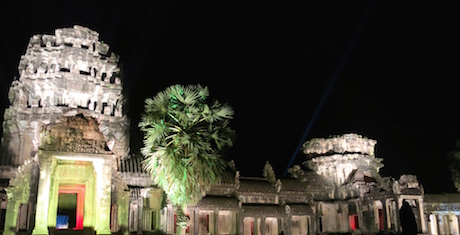 You could not enter Angkor Wat but could get close enough to the entrance to see the lighting from a different perspective.